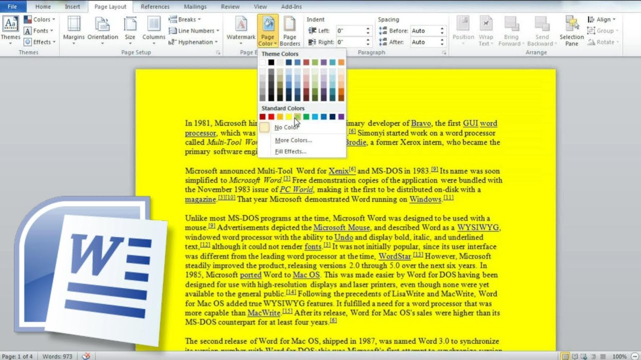 How To Change The Background Color Of Word Documents It Support